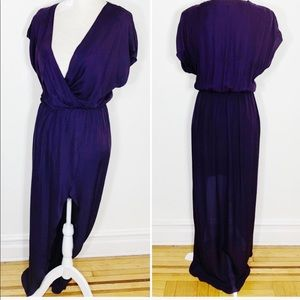 Rory Becca • butterfly sleeve slit maxi dress